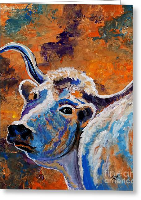 Abstract Expression Greeting Cards - Abstract Cow Art Greeting Card by Janice Rae Pariza