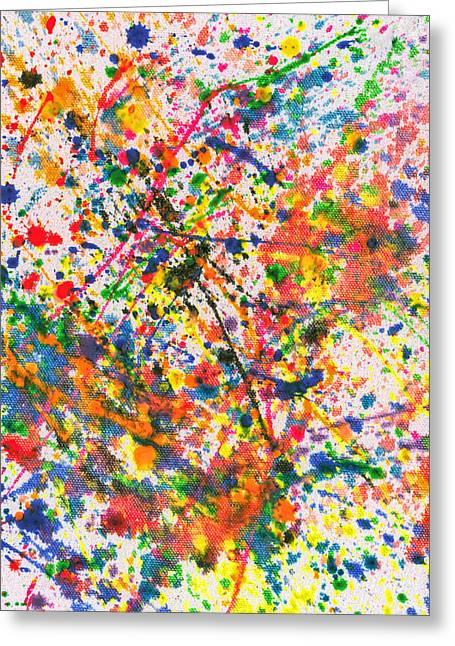 Recently Sold -  - White Cloth Greeting Cards - Abstract - Crayon - Mardi Gras Greeting Card by Mike Savad