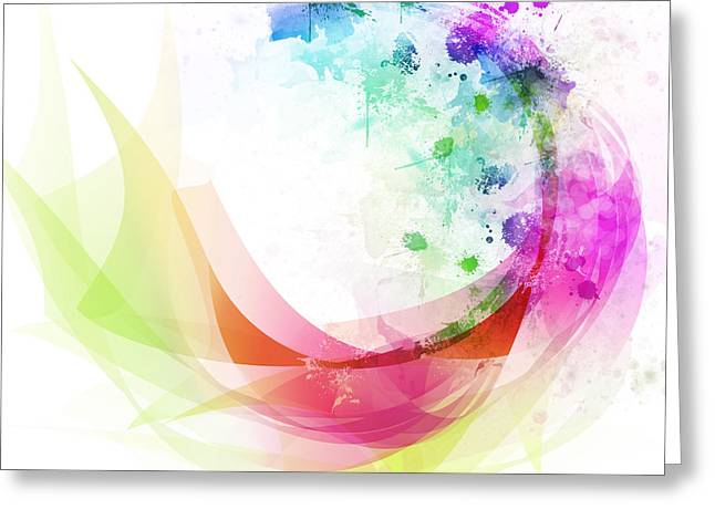 Glowing Greeting Cards - Abstract curved Greeting Card by Setsiri Silapasuwanchai