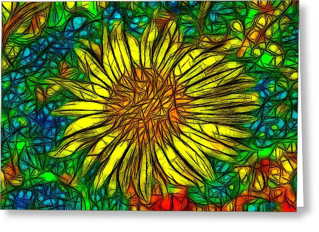 Floral Digital Art Greeting Cards - Abstract Daisy Greeting Card by Jean-Marc Lacombe