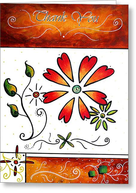 Abstract Decorative Greeting Card Art Thank You By Madart Greeting Card by Megan Duncanson