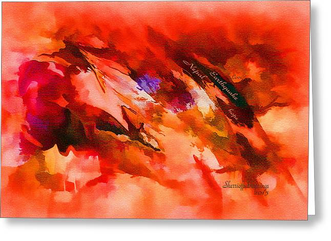 Digital Art Greeting Cards - Abstract Dedication to Nepal by Sherriofpalmsprings Greeting Card by Sherri  Of Palm Springs