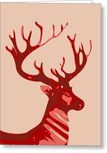 Printmaking Greeting Cards - Abstract Deer Contours Greeting Card by Keshava Shukla