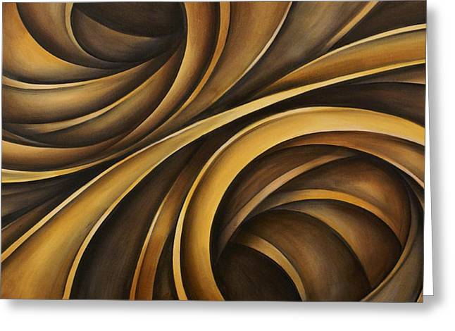 Earth Tones Brown Ribbon Abstract Flowing Motion Greeting Cards - Abstract Design 34 Greeting Card by Michael Lang