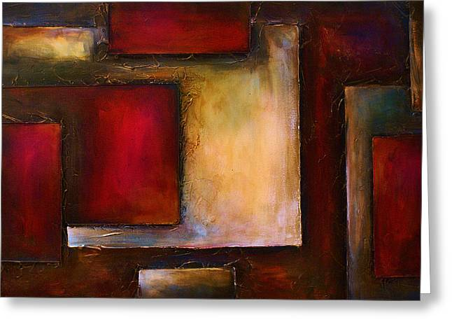 Cubist Paintings Greeting Cards - Abstract Design 50 Greeting Card by Michael Lang