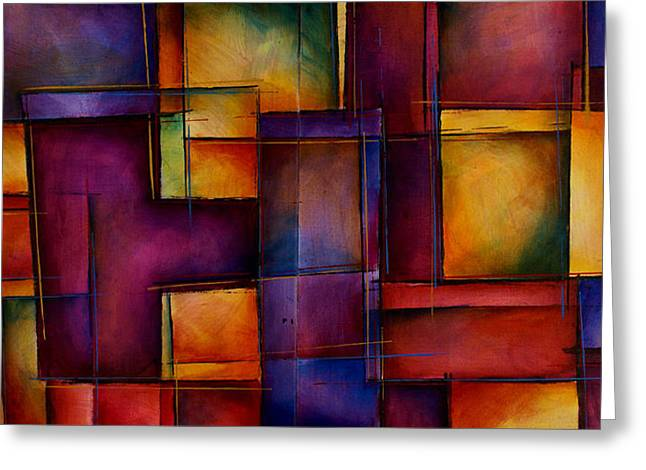 Cubism Art Greeting Cards - Abstract Design 93 Greeting Card by Michael Lang