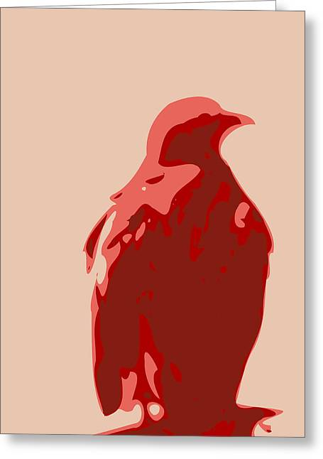 Keshava Greeting Cards - Abstract Eagle Contours Red Greeting Card by Keshava Shukla