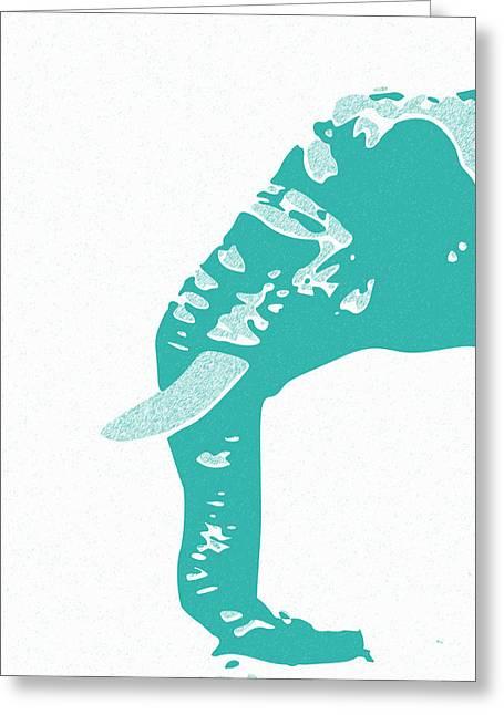 Keshava Greeting Cards - Abstract Elephant Doll Cyan Greeting Card by Keshava Shukla