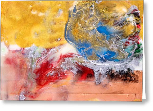 Planet Paintings Greeting Cards - Abstract Encaustic Painting Greeting Card by Edward Fielding