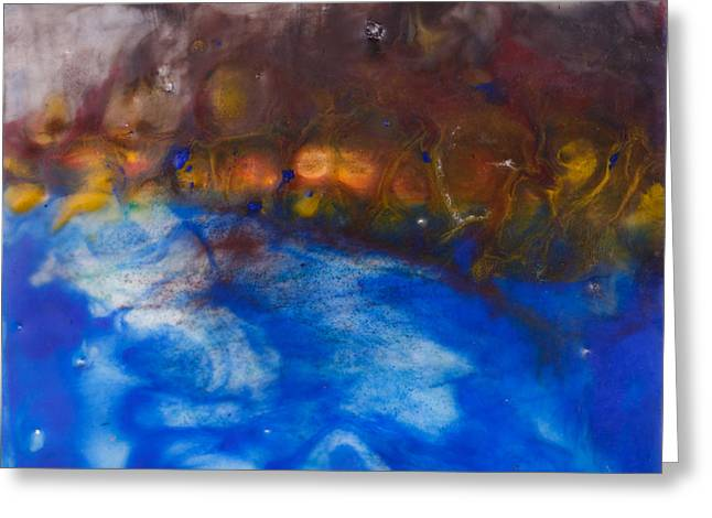 Encaustic Greeting Cards - Abstract Encaustic Painting Ocean Greeting Card by Edward Fielding