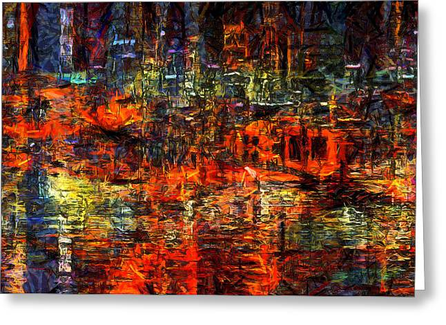 Urban Images Greeting Cards - Abstract Evening Greeting Card by Kiki Art