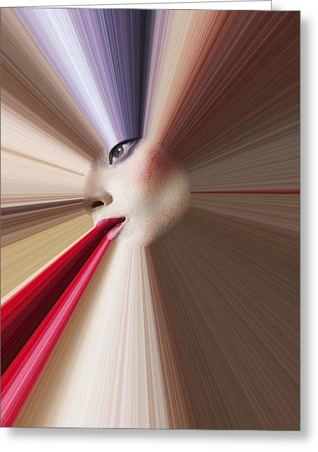 Abstract Face Greeting Card by Garry Gay
