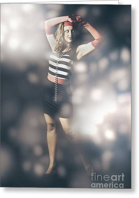 Unique Jewelry Greeting Cards - Abstract fashion girl amongst glittering lights Greeting Card by Ryan Jorgensen