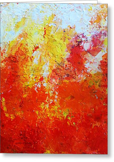 Red Abstracts Greeting Cards - Abstract fire Greeting Card by Angelina Sofronova