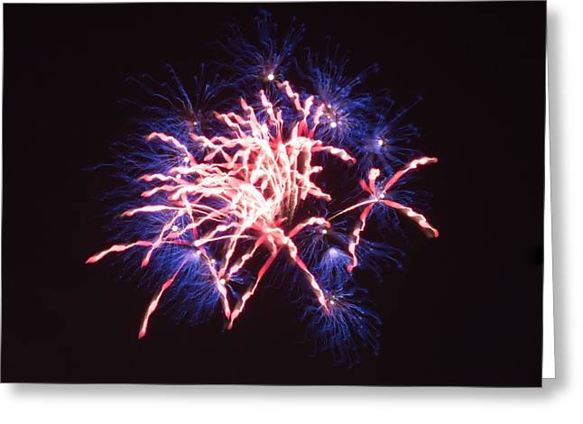 4th July Greeting Cards - Abstract Fireworks  Greeting Card by Caleb McElhaney