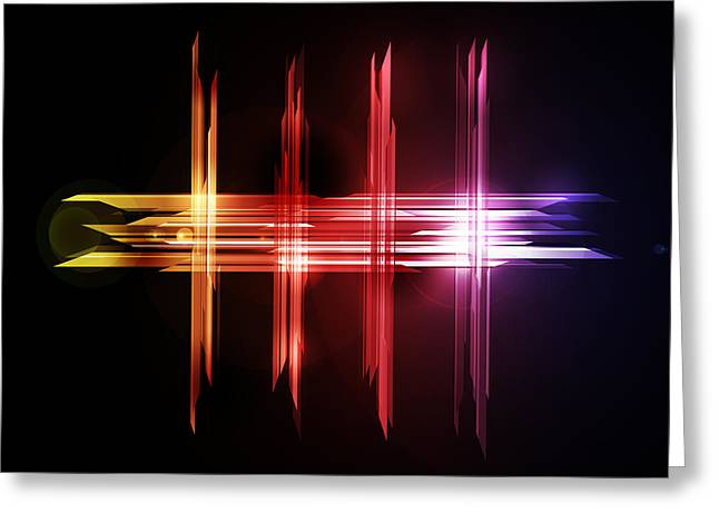 Beam Greeting Cards - Abstract Five Greeting Card by Michael Tompsett