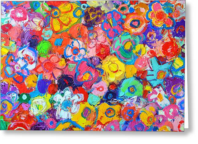 Many Greeting Cards - Abstract Floral Greeting Card by Ana Maria Edulescu