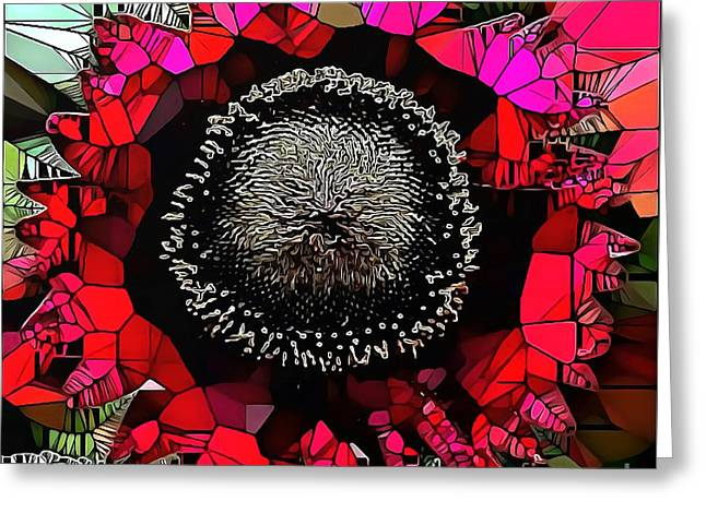 Abstract Floral Stained Glass Painting Greeting Card by Catherine Lott
