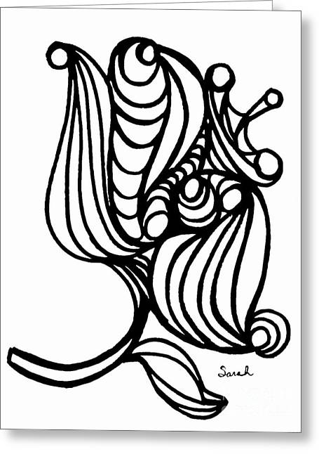 Sarah Loft Drawings Greeting Cards - Abstract Flower Greeting Card by Sarah Loft