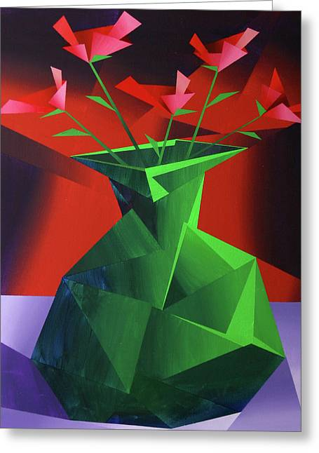 Daily Painter Greeting Cards - Abstract Flower Vase Prism Acrylic Painting Greeting Card by Mark Webster