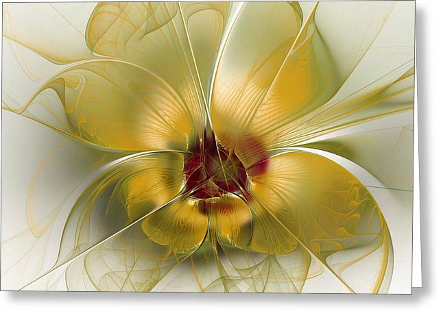 Refined Greeting Cards - Abstract Flower with Silky Elegance Greeting Card by Karin Kuhlmann