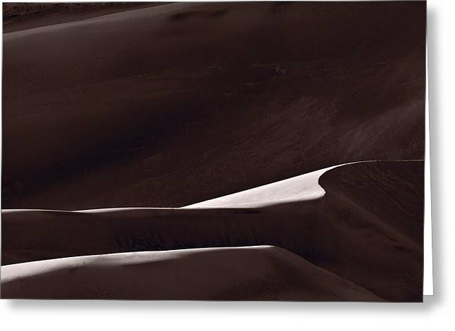 Shadow Shapes Greeting Cards - Abstract Form Great Sand Dunes Colorado Greeting Card by Steve Gadomski