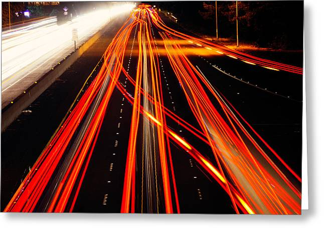 Abstract Freeway Lights Greeting Card by Garry Gay