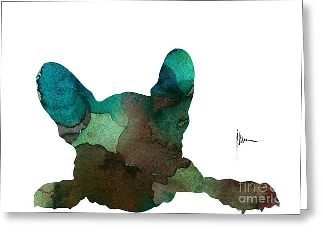 Abstract French Bulldog Watercolor Painting Greeting Card by Joanna Szmerdt