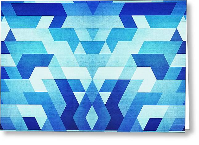 Abstract Geometric Triangle Pattern Futuristic Future Symmetry In Ice Blue Greeting Card by Philipp Rietz