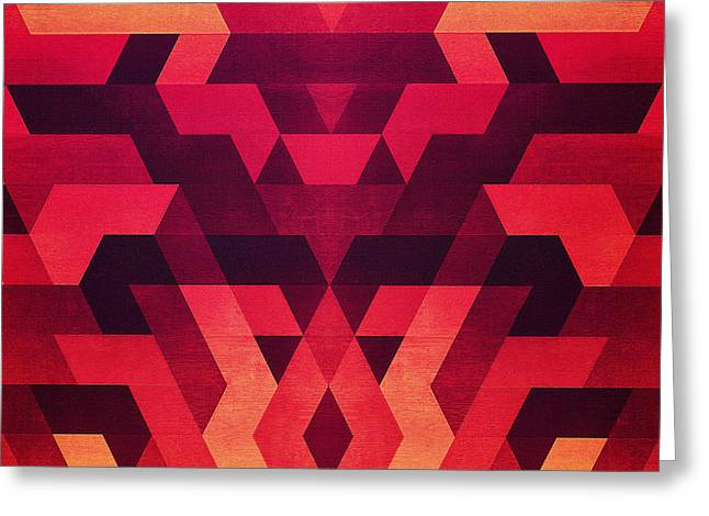 Abstract  Geometric Triangle Texture Pattern Design In Diabolic Future Red Greeting Card by Philipp Rietz