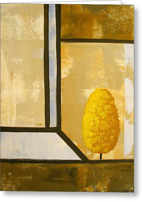 Folk Art Greeting Cards - Abstract Gold Tree Greeting Card by Debbie Criswell