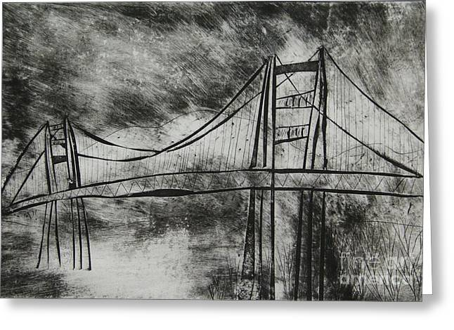 Famous Bridge Mixed Media Greeting Cards - Abstract Golden Gate Bridge Black and White Dry Point Print Cropped Greeting Card by Marina McLain