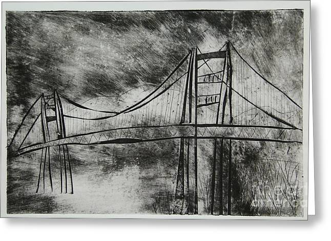 Famous Bridge Mixed Media Greeting Cards - Abstract Golden Gate Bridge Black and White Dry Point Print Greeting Card by Marina McLain