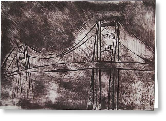 Famous Bridge Mixed Media Greeting Cards - Abstract Golden Gate Bridge Dry Point Print Cropped Greeting Card by Marina McLain