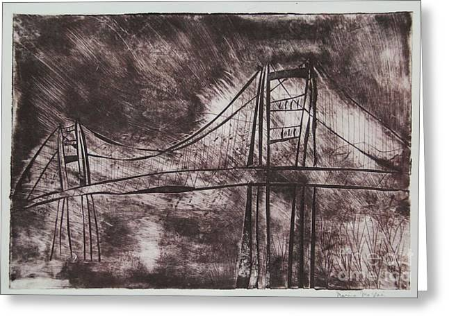 Town Mixed Media Greeting Cards - Abstract Golden Gate Bridge Dry Point Print Greeting Card by Marina McLain