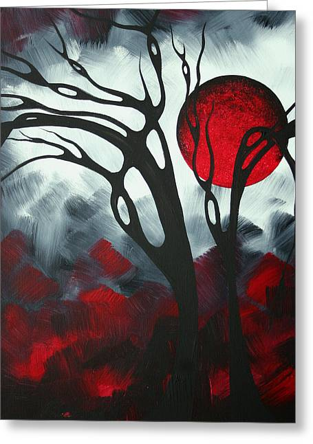 Licensor Greeting Cards - Abstract Gothic Art Original Landscape Painting IMAGINE I by MADART Greeting Card by Megan Duncanson