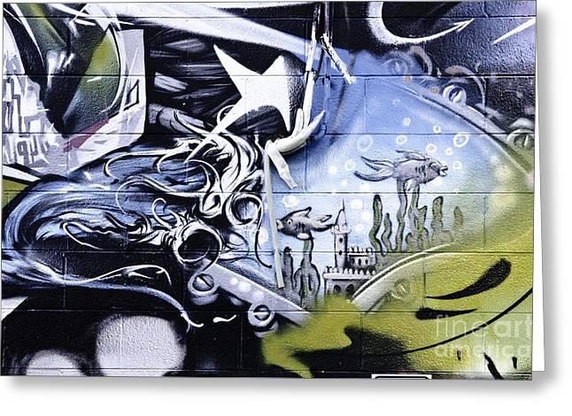 Slam Greeting Cards - Abstract graffiti detail Greeting Card by Yurix