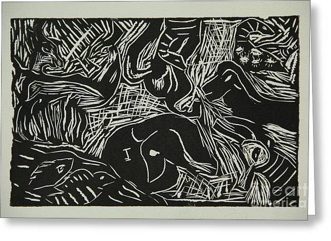 Linoleum Print Mixed Media Greeting Cards - Abstract Greece Inspired Black and White Linoleum Print Greeting Card by Marina McLain