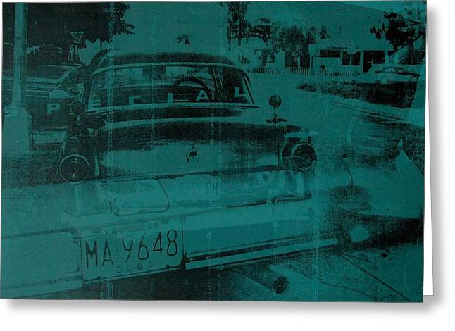 Streetlight Greeting Cards - Abstract green car Greeting Card by David Studwell