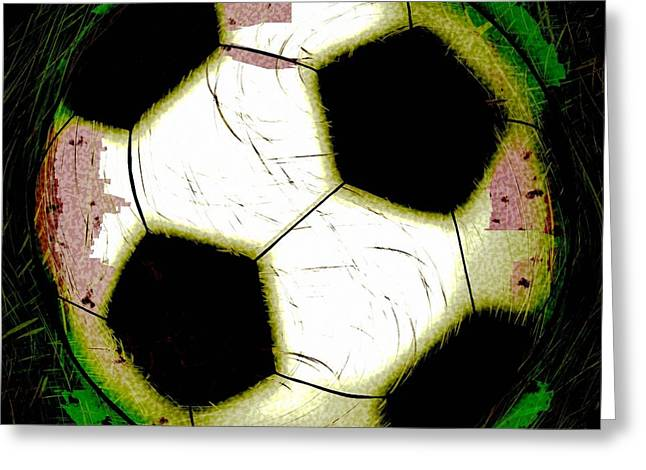 Abstract Grunge Soccer Ball Greeting Card by David G Paul