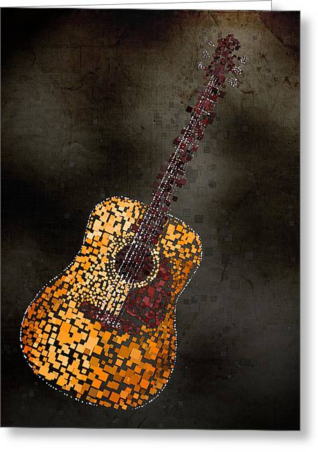 Blue Abstracts Greeting Cards - Abstract Guitar Greeting Card by Michael Tompsett