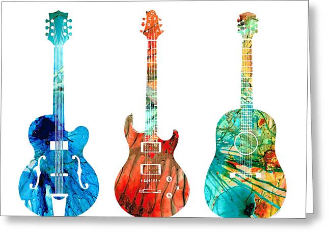 Abstract Guitars By Sharon Cummings Greeting Card by Sharon Cummings