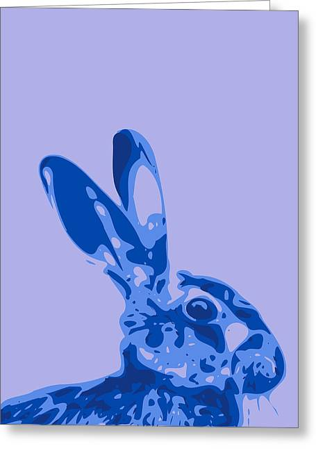 Keshava Greeting Cards - Abstract Hare Contours blue Greeting Card by Keshava Shukla