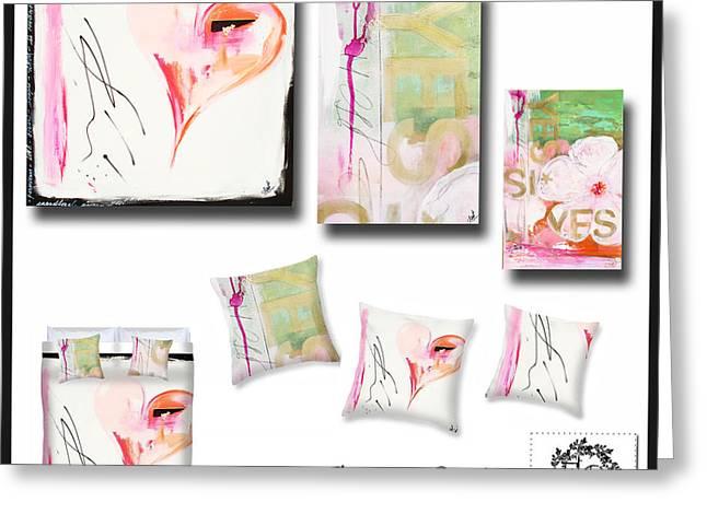 Award Winning Art Greeting Cards - Abstract Heart Decor Mood Board Greeting Card by Anahi DeCanio - ArtyZen Studios