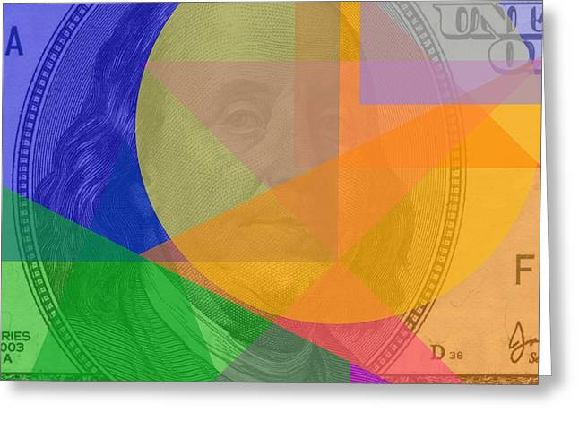 Abstract Hundred Dollar Bill Greeting Card by Dan Sproul