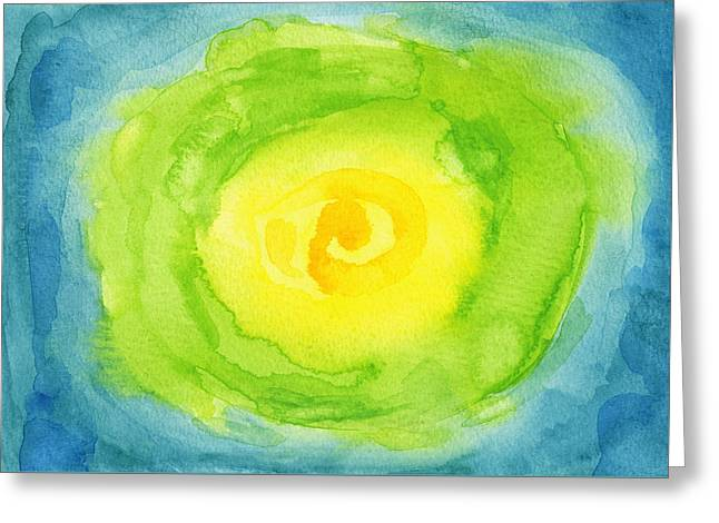 Romaine Paintings Greeting Cards - Abstract Iceberg Lettuce Greeting Card by Kathleen Wong