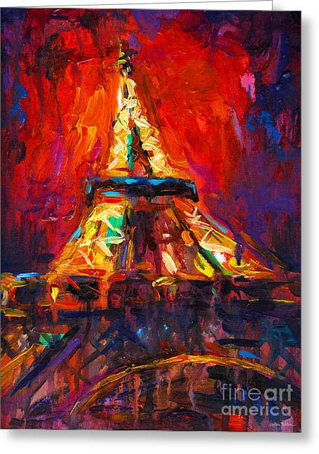 Paris At Night Greeting Cards - Abstract Impressionistic Eiffel Tower painting Greeting Card by Svetlana Novikova