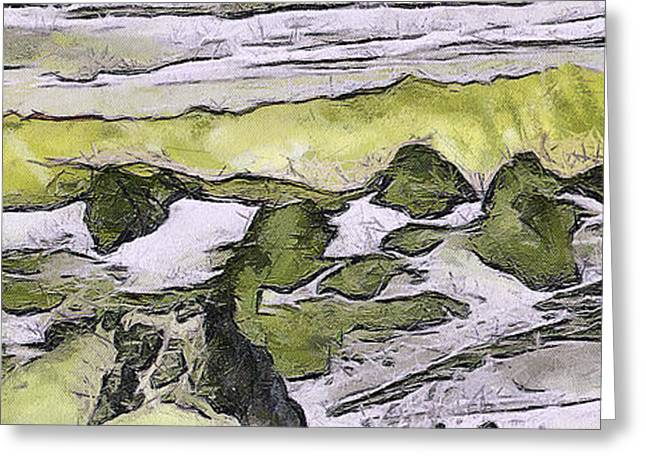 Paint Photograph Greeting Cards - Abstract in green Greeting Card by Odon Czintos