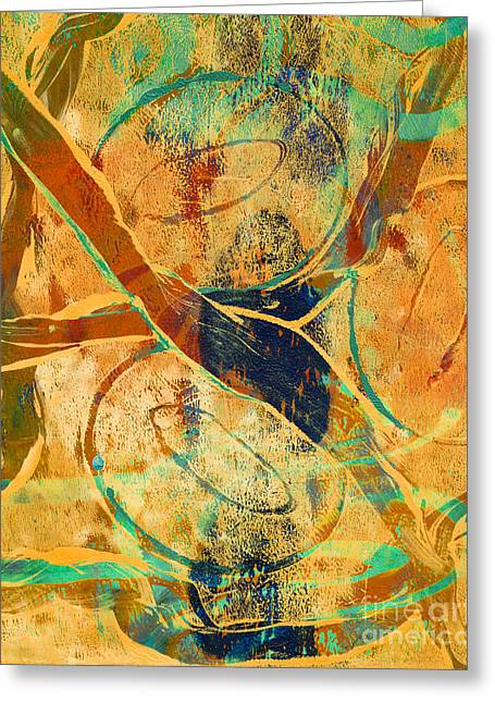 Printmaking Greeting Cards - Abstract in Orange Greeting Card by Laura L Leatherwood
