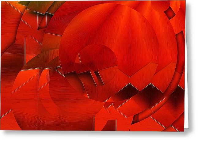 Recently Sold -  - Oranger Greeting Cards - Abstract In OrangeRed Greeting Card by Gabriella Weninger - David